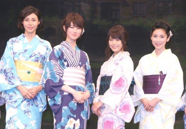 浴衣姿で登壇した松嶋菜々子、高月彩良、有村架純、黒木瞳(写真左から)