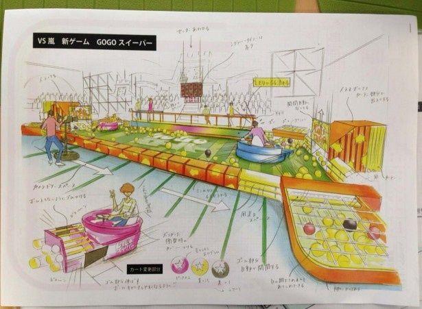 鈴木氏が描いたデザイン画。左右のゲートから一度に100個ものボールが飛び出す