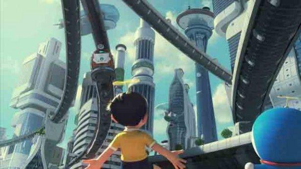 タイムマシンで訪れた未来都市に驚くのび太