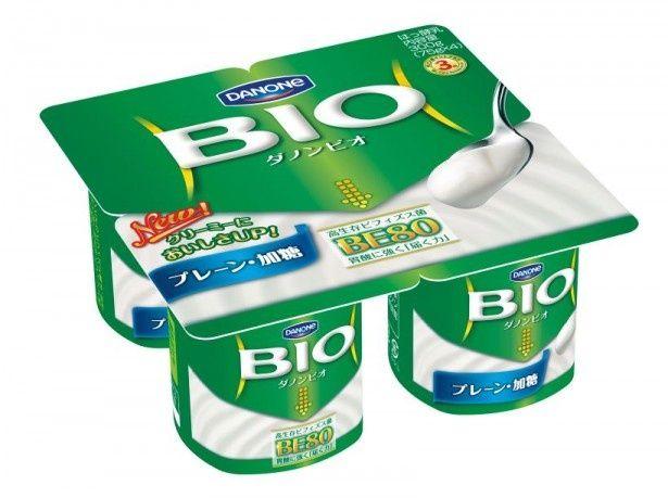 高生存ビフィズス菌BE80が入ったダノンビオの代表する商品「ダノンビオ プレーン・加糖」(225円)