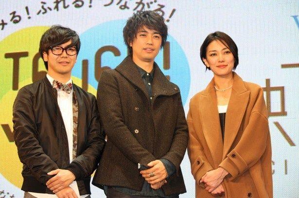 WOWOW「映画工房」放送150回記念の公開収録に登場した(左から)中井圭、斎藤工、板谷由夏
