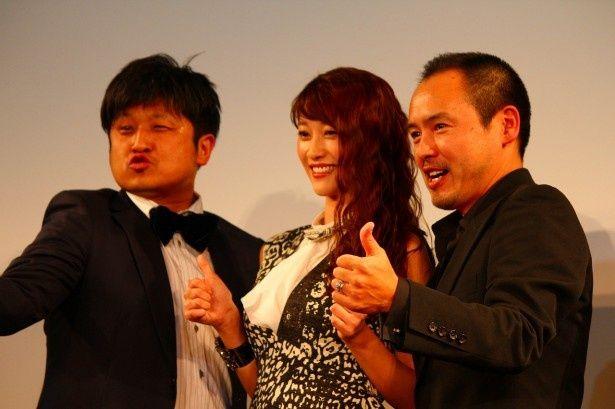 WOWOW海外ドラマ「エージェント・オブ・シールド」の特別上映会に登場した(左から)大谷ノブ彦、原幹恵、尾崎英二郎