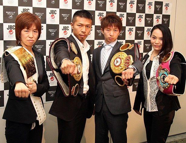 5月6日の王座戦に向け意気込みを語った(左から)江畑佳代子、内山高志、田口良一、池原シーサー久美子