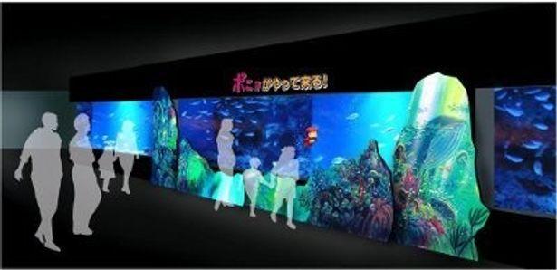 可愛い!水族館で魚たちと泳ぐポニョ