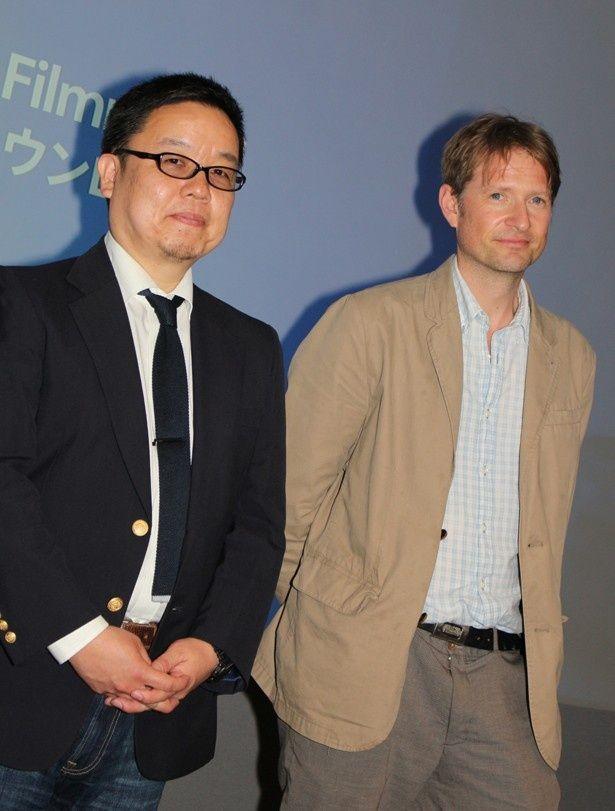 トークイベントに登壇したマーク・ブラウンロウ監督(写真右)と野生動物のスペシャリスト・新宅広二氏