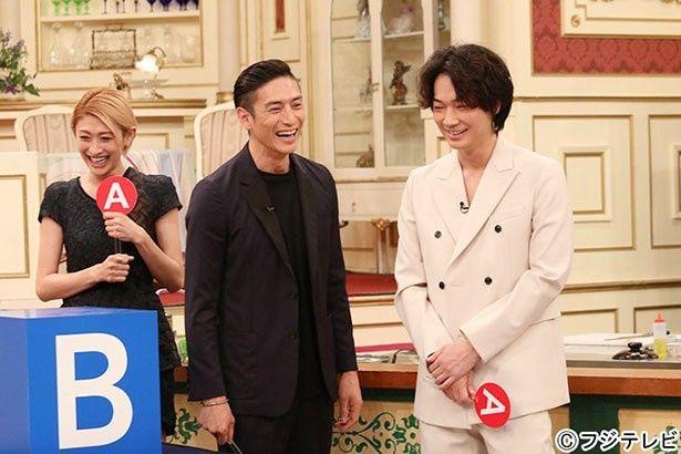5月18日(月)放送の「SMAP×SMAP」に登場した山田優、伊勢谷友介、綾野剛(写真左から)