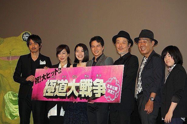 KAERUくん、青柳翔(劇団EXILE)、高島礼子、成海璃子、市原隼人、リリー・フランキー、でんでん、坂口茉琴が登壇(左から)