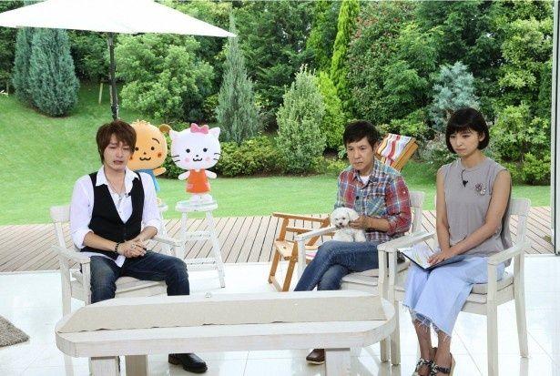 7月12日(日)に放送される「ペットの王国 ワンだランド」にゲスト出演する徳山秀典とMCの関根勤、篠田麻里子(写真左から)