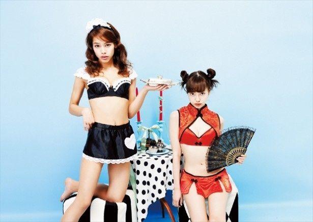 ファッションモデル・タレントの中村里砂(右)が下着モデルに初挑戦!