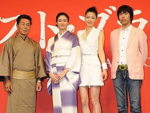 左から:倉田保昭、小雪、チョン・ジヒョン、石川光久(プロダクションI.G.社長)