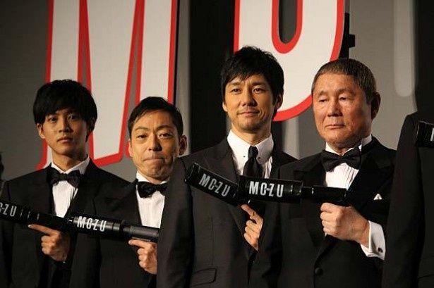 登壇した松坂桃李、香川照之、西島秀俊、ビートたけし(左から)