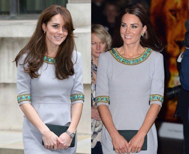 3年前(写真右)と同じドレスで登場したキャサリン妃