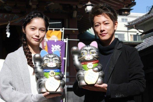 『世界から猫が消えたなら』のヒット祈願をした佐藤健と宮崎あおい