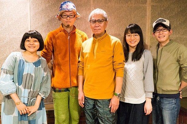 左から小桜エツコさん、稲積君将さん、三池崇史さん、千菅春香さん、豊永利行さん