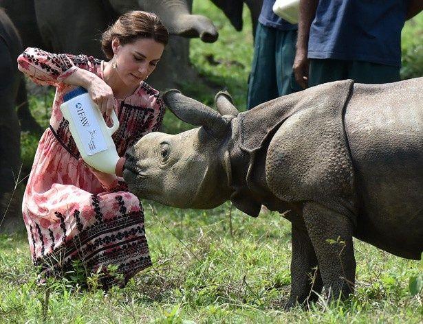 サイの赤ちゃんにミルクをあげるキャサリン妃