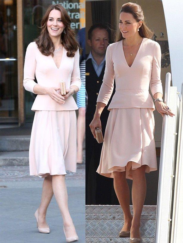 今年5月のキャサリン妃(写真左)は、2014年4月の服装(写真右)と同じ