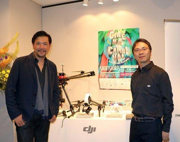 (左から)SSFF & ASIA代表の別所哲也、世界最大のドローン企業 DJIの呉代表取締役
