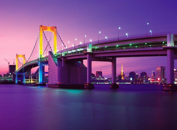 「夜景鑑賞士」の資格が得られる「夜景鑑賞士検定」は、夜景関連事業を牽引する夜景観光コンベンション・ビューローが主宰。写真はレインボーブリッジ(東京都)