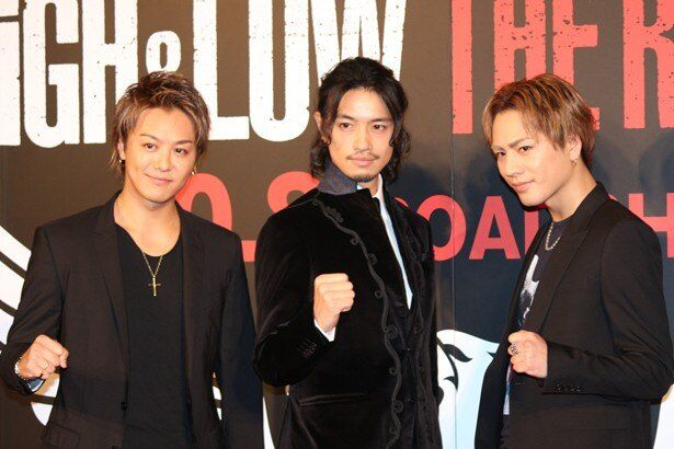 『HiGH&LOW THE RED RAIN』のイベントに登場したTAKAHIRO、斎藤工、登坂広臣