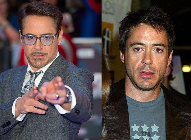 左が現在、右が2003年当時のロバート・ダウニー・Jr.。2003年に比べ、現在のほうが若々しい
