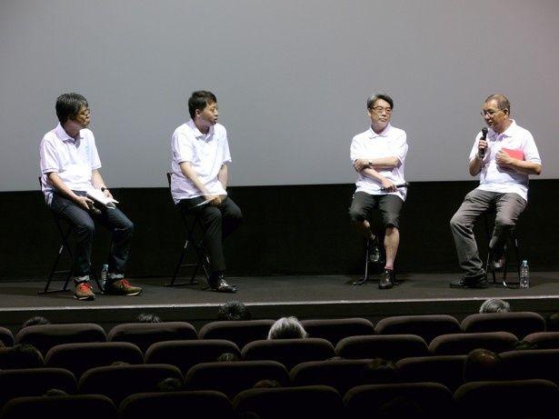 当時を振り返る面々。右から渡邊隆史プロデューサー(KADOKAWA)、井上伸一郎専務(KADOKAWA)、齋藤優一郎プロデューサー(スタジオ地図)、司会進行を務めた千葉淳プロデューサー(KADOKAWA)