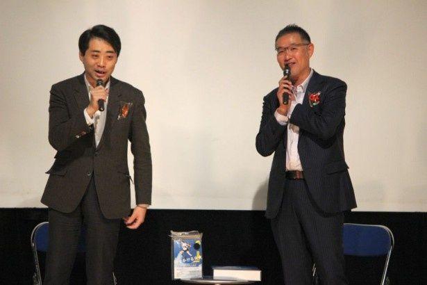 『時をかける少女』のプロデューサーの齋藤優一郎氏、パッケージ プロデュサーの菊池剛氏(写真右)