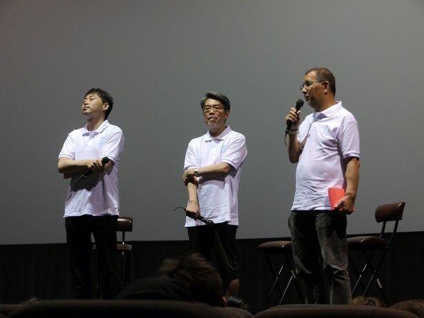 右から渡邊隆史プロデューサー(KADOKAWA)、井上伸一郎専務(KADOKAWA)、齋藤優一郎プロデューサー(スタジオ地図)