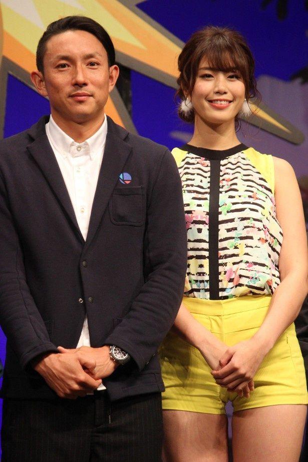 『モンスト』の完成披露イベントに登壇した川崎宗則選手と稲村亜美