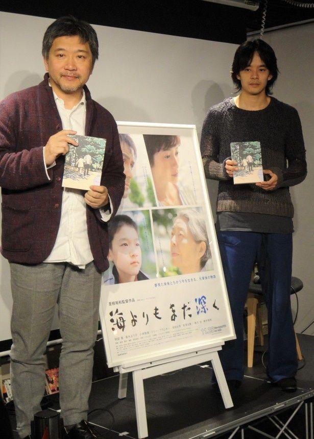 映画「海よりもまだ深く」についてトークを行った是枝裕和監督と池松壮亮