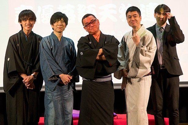 左から、ニッポン放送アナウンサーの吉田尚記さん、赤羽根健治さん、橘家文蔵師匠、立川志ら乃師匠、サンキュータツオさん