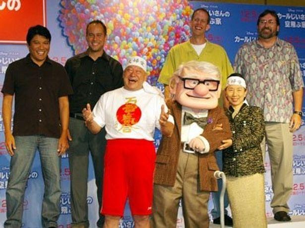 ピクサー新作『カールじいさんの空飛ぶ家』に集まった製作陣&特別ゲストのアニマル浜口夫妻